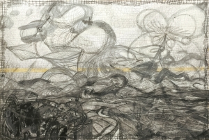 Anthony Smith, How Do You Stop A Flying Dreadnaught 5, 54 x 72 inches, mixed media drawing, 2015
