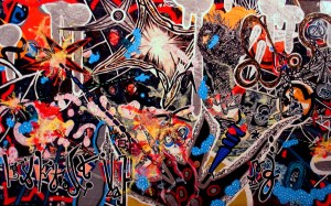 Anthony Smith, Mega Spacy Hit Parade, 24 x 48 inches, mixed media, 2006