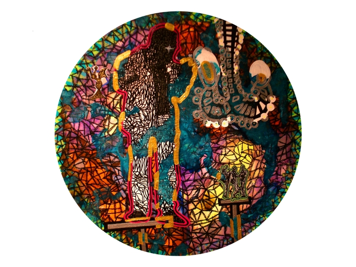 Anthony Smith, Original Eight Isley Brothers XL1, 24 inch circle, mixed media, 2015 large