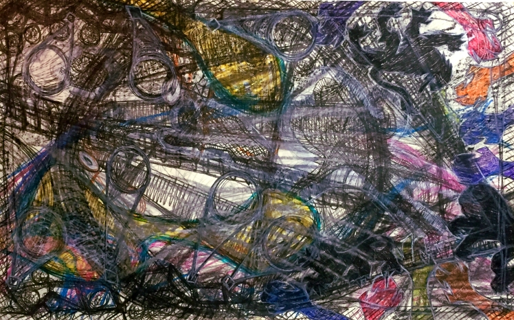 Anthony Smith Jr., Hot in Concert 2, 24 x 36 inches, mixed media drawing 2016