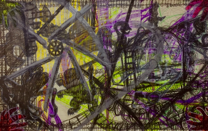 Anthony Smith Jr., Hot in Concert 3, 24 x 36 inches mixed media drawing, 2016