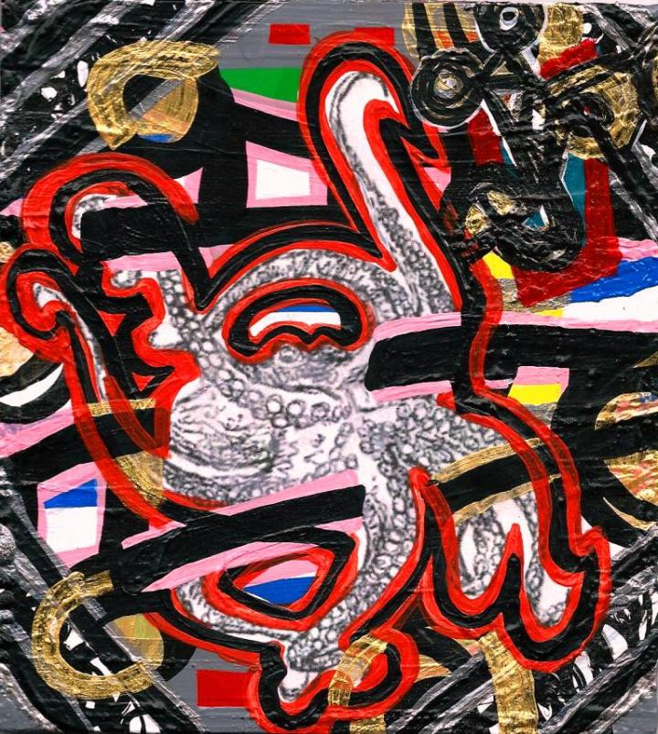 Anthony Smith, Animal Kingdom Bangers 17 ,4 x 8 inches, mixed media, 2014