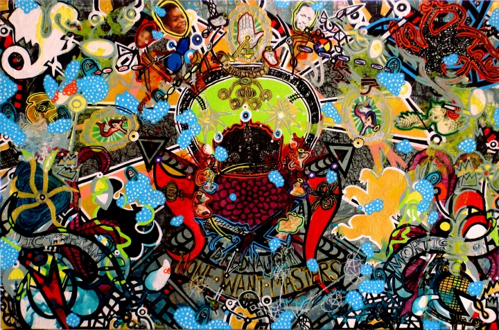 Anthony Smith, Pilot, Or How Do You Stop A Flying Dreadnaught 1, 32 x 48 inches, mixed media painting, 2014 large