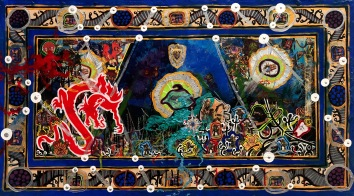 Anthony Smith Jr, The Twelve Gnostic Confessions of St Bartholomew the Lame No. 1, 20 x 36 inches, mixed media, 2020.jpg